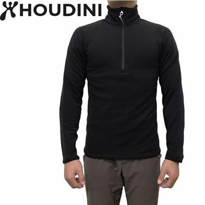 圖片 瑞典【Houdini】M's Power Half Zip 長袖拉鍊刷毛中層衣 男 純黑