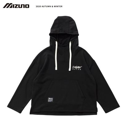 圖片 【 美津濃MIZUNO】 女款長袖連帽T恤(黑灰)