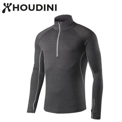 圖片 瑞典【Houdini】M`s Airborn Zip 男性半拉鍊美麗諾羊毛內層衣 漂染黑