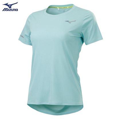 圖片 【美津濃MIZUNO】女款路跑短袖T恤-(淺藍綠)