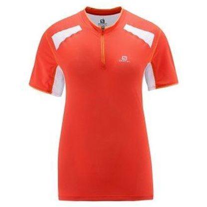 圖片 【Salomon】SA14 Ultra Trail Tee W油桃橘/白-女拉鍊排汗衫